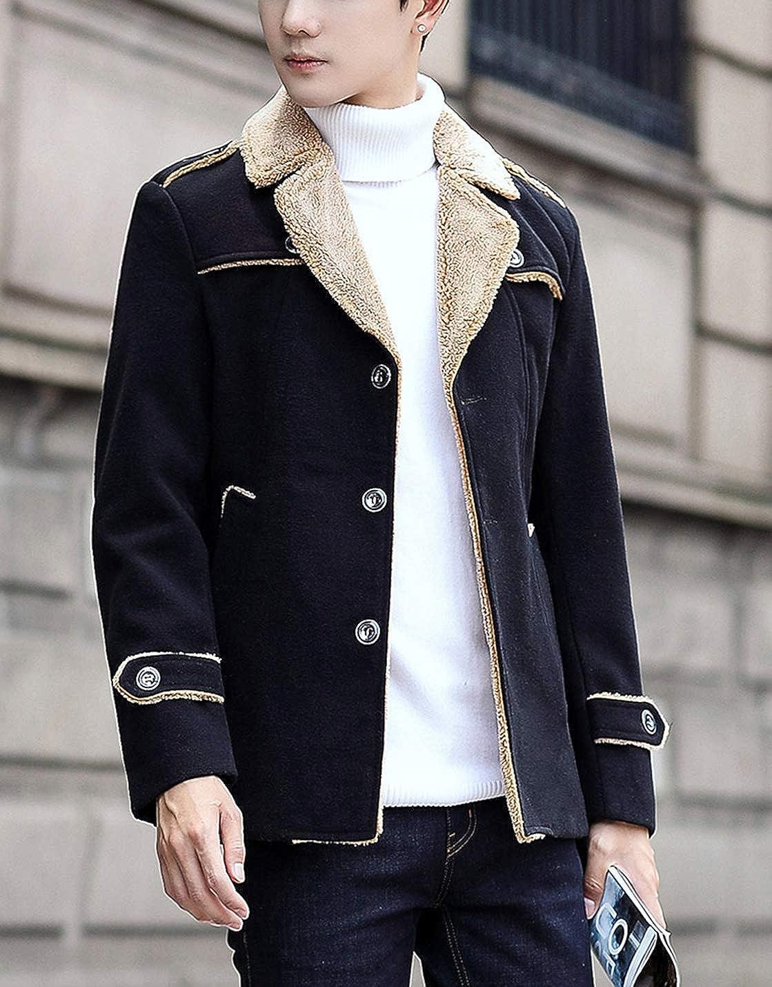 Gihuo Mens Winter Woolen Fleece Lined Notched Lapel Single Breasted Jacket