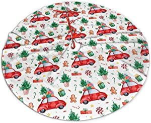 Christmas Tree Skirt 48 Inch Trucks Gingerbread Man Lollipop Candy Gift Xmas Holiday Party Supplies Large Tree Mat Decor for Indoor Outdoor Home Ornaments