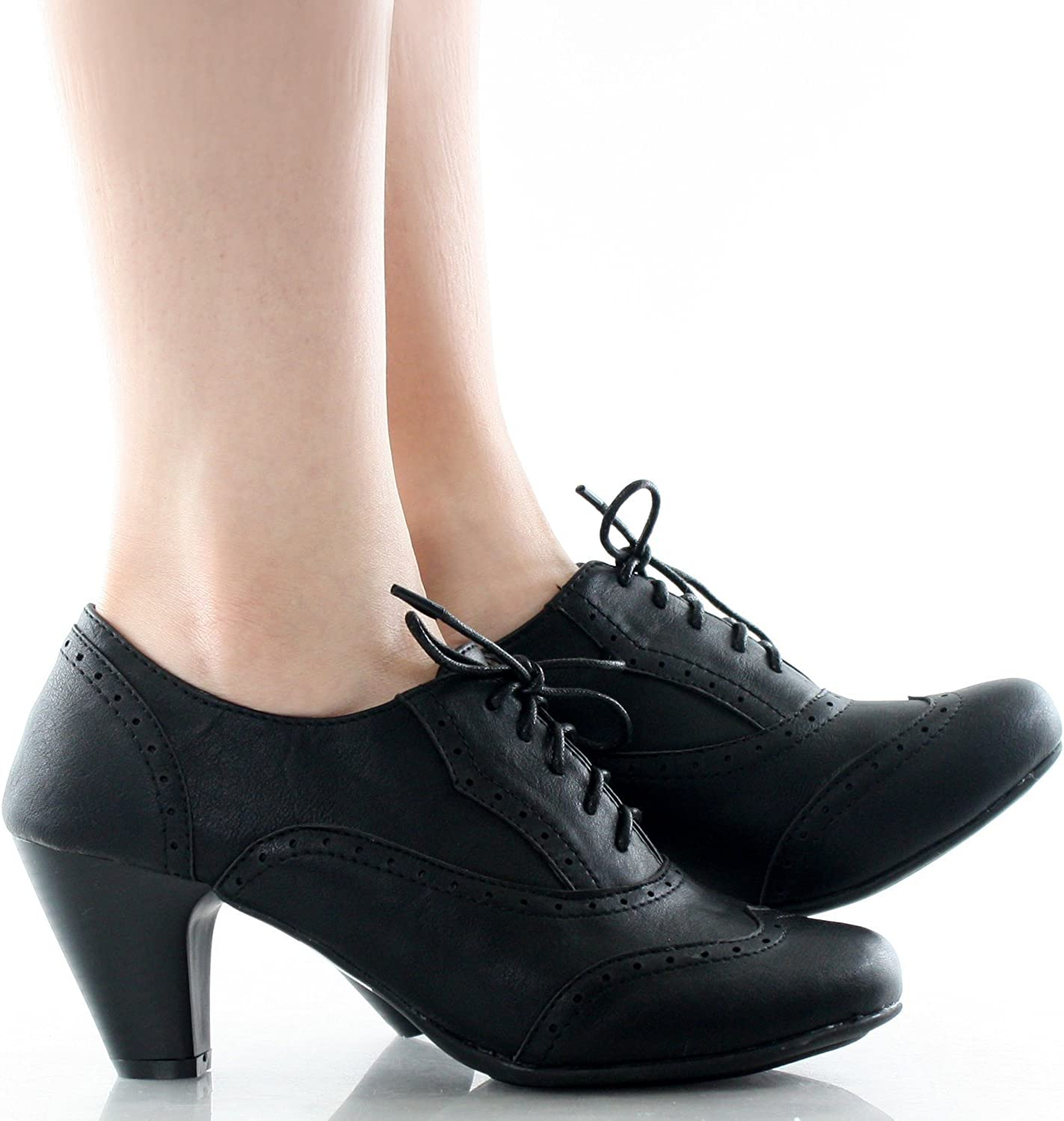 Womens Cuban Chunky Heel Lace-up Ankle Booties Oxford Shoes