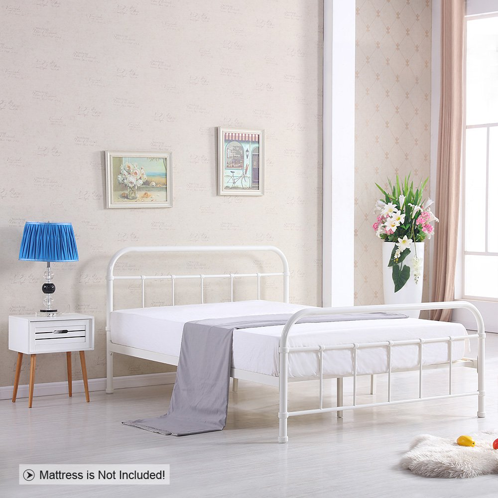 iKayaa Metallbett Doppelbett Bettgestell mit Lattenrost Größe und ...