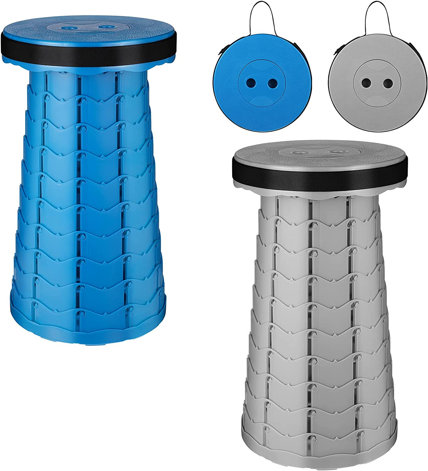 2 Pack Portable Folding Stool Set, Collapsible & Retractable Chair for Adults, Telescopic Fordable Furniture for Camping Fishing Hunting Hiking BBQ Outdoor and Indoor Activities ( Blue&Grey) by BOWINR
