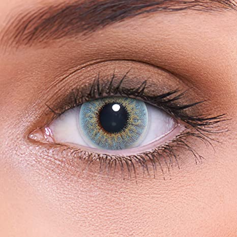 """Stark deckende natürliche blaue Kontaktlinsen farbig """"Marble Blue"""" + Behälter von LENZOTICA I 1 Paar (2 Stück) I DIA 14.00 I"""