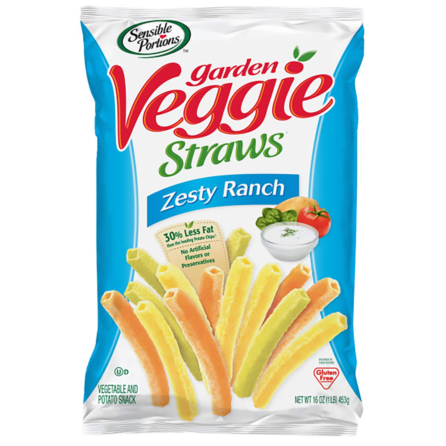 Sensible Portions Garden Veggie Straws, Zesty Ranch, 16 oz. (Pack of 6)