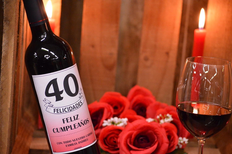 Botella de vino personalizada texto para regalo cumpleaños: Amazon.es: Alimentación y bebidas