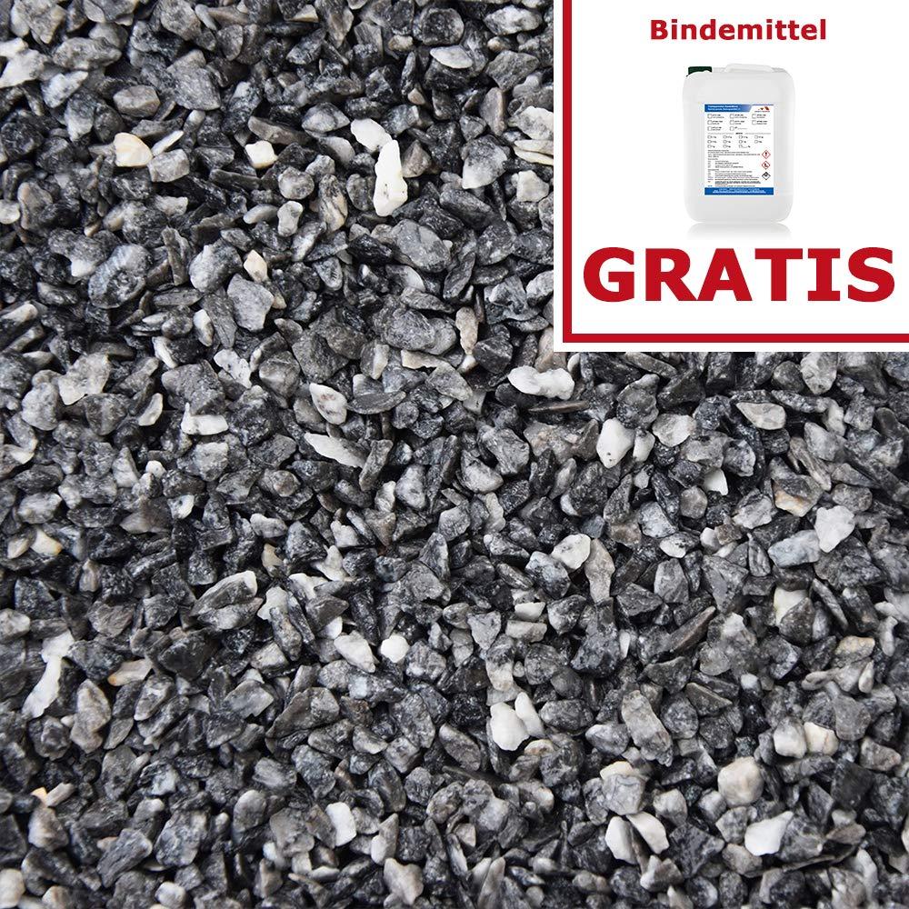 Steinteppich Set  Schwarz 50kg kg inklusive  3kg Bindemittel