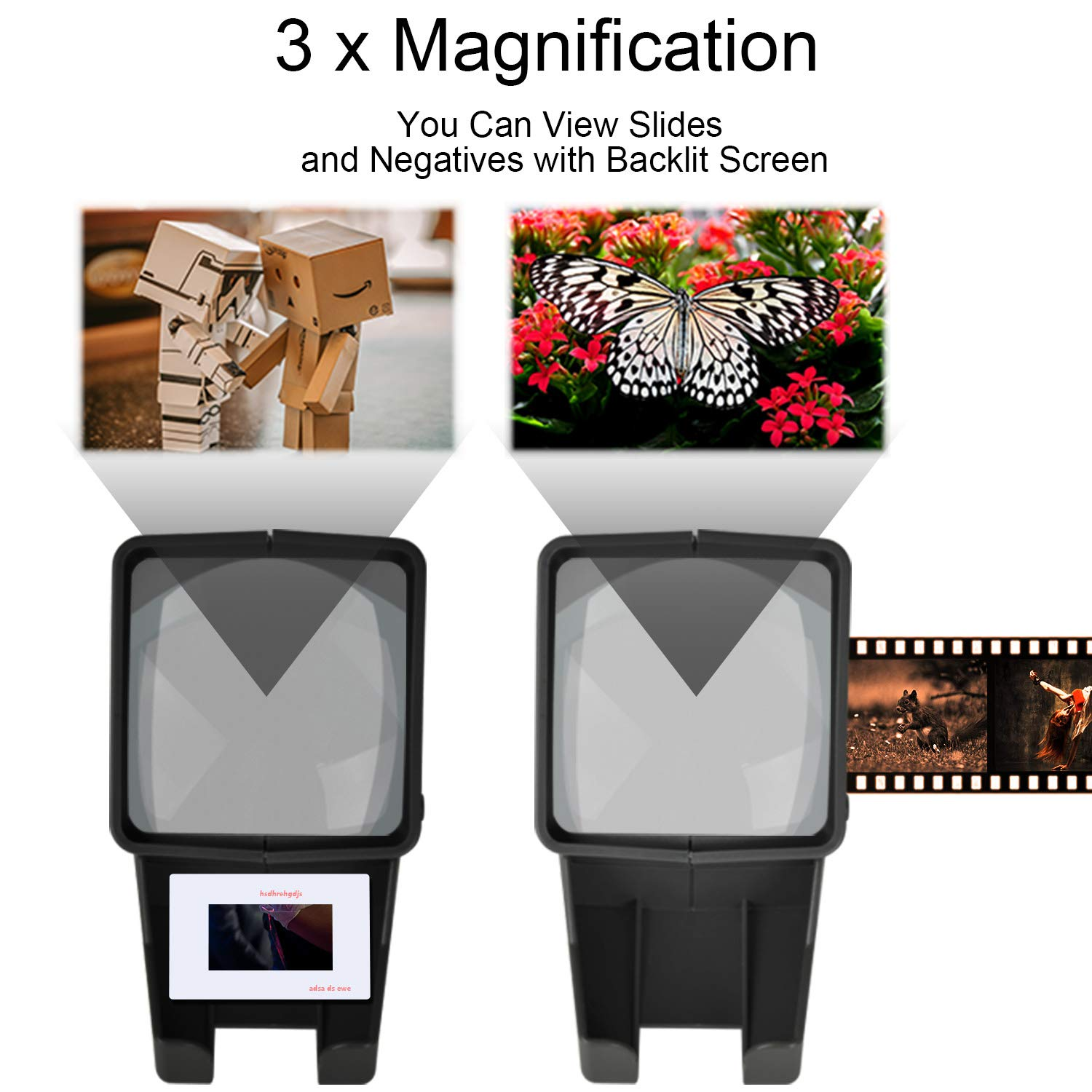Rybozen 35mm Film and Slide Viewer 3X Magnification and Desk Top LED Lighted Illuminated Viewing and Battery Operation-for 35mm Slides /& Positive Film Negatives