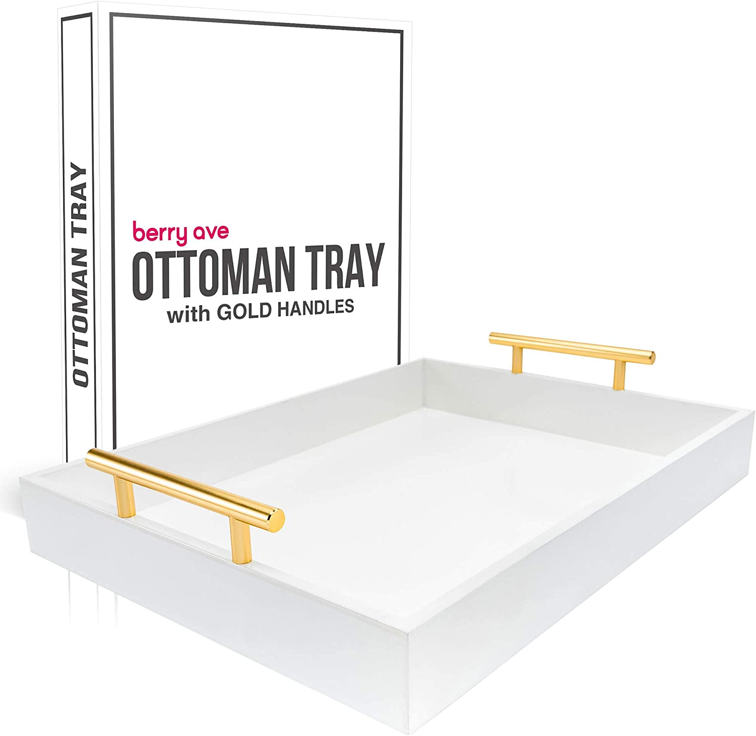 Premium Ottoman Tray- Chic Decorative Rectangular Serving Tray With Glossy Finish & Polished Metal Handles- Modern & Practical Coffee Table Tray- Perfect For Ottoman, Console, Side Table- White, Gold