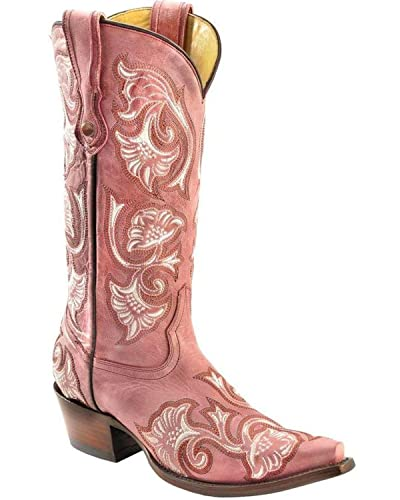 cc628fe3e58 CORRAL Women's Floral Embroidered Cowgirl Boot Snip Toe