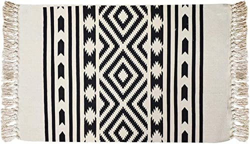 USTIDE Cotton Braided Boho Rug Black Cream Natural Decorative Throw Rugs 2 x3 Hand Woven Tassel Rug Entryway Bathroom Laundry Room