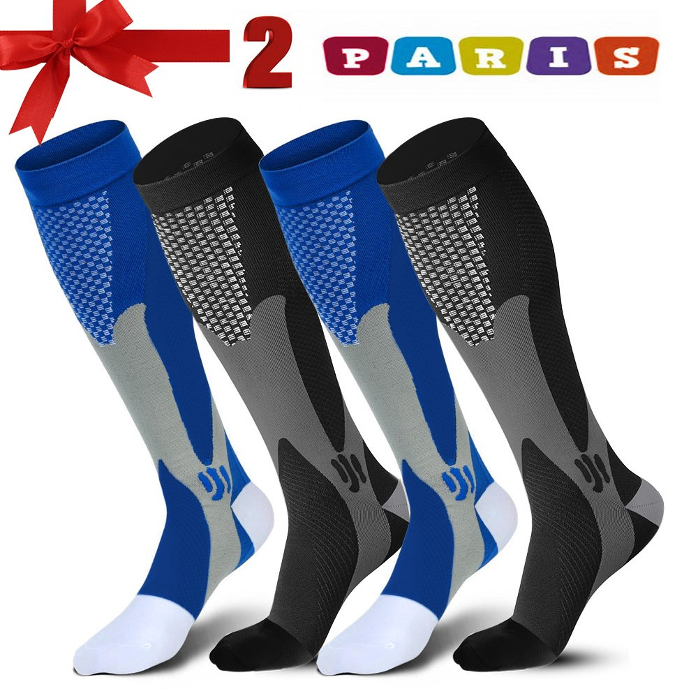 Sedremm Compression Socks for Men & Women 20-30mmHg 2 Pair,Graduated Athletic Socks Reduce Muscle Soreness,Best for Running,Sport,Travel,Nurses,Medical,Pregnancy,Marathon,Flight
