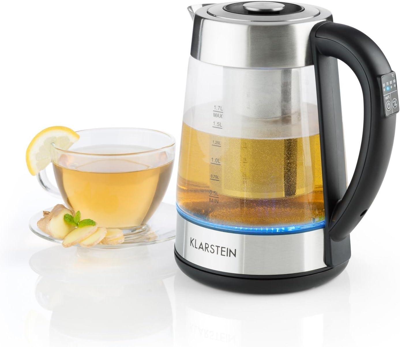 Klarstein Ostfries Hervidor de agua 2 en 1 - Tetera eléctrica, Colador de té, 1,7 litros, 2200 W, Preparación bebidas, Regulable, LED, Acero inoxidable y Cristal