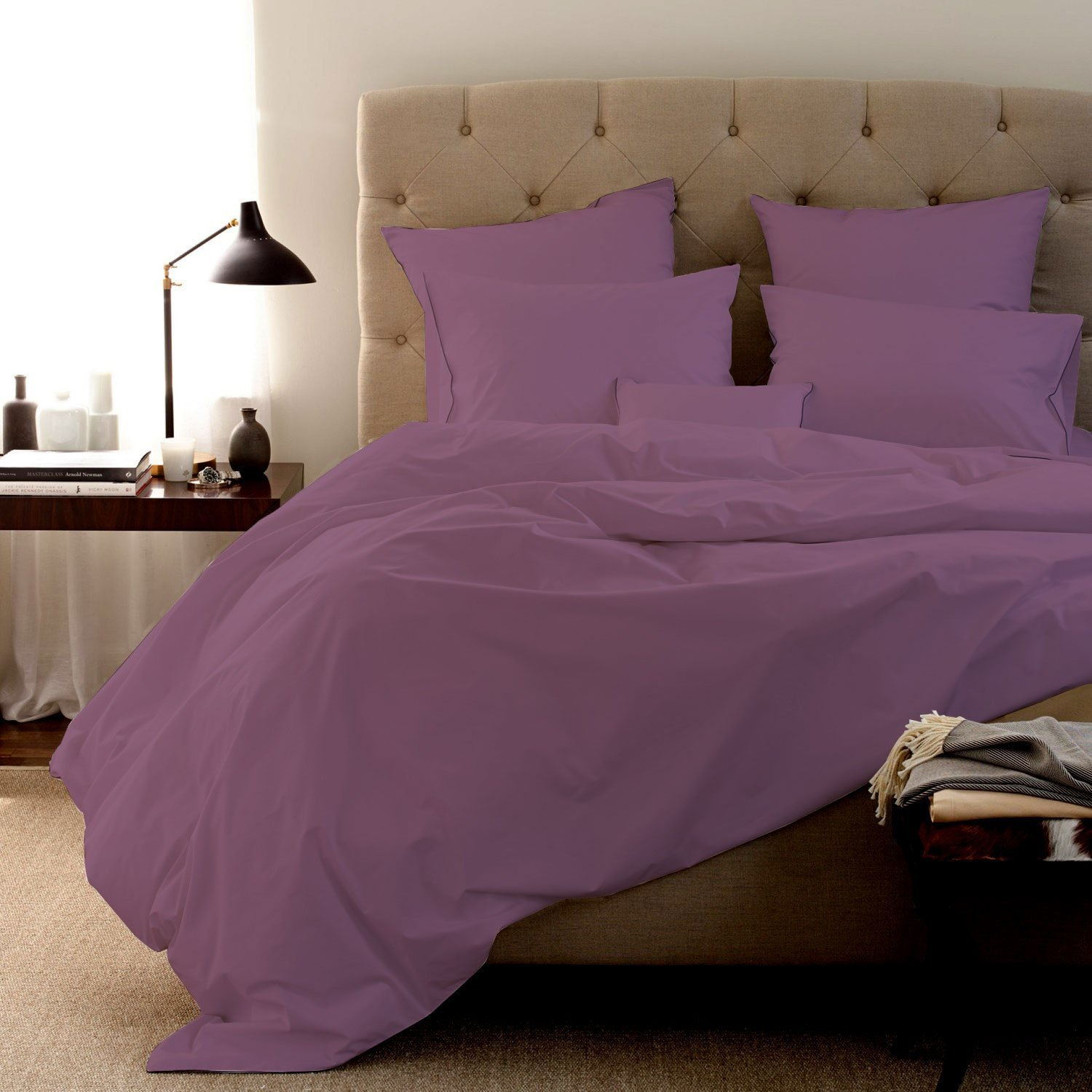 Authentic Egyptian cotton Sheet Set fits mattresses up to 18'' deep 1000 TC Color- Lilac Solid Size Queen ORIGINALLY SOLD BY LUSSONA BEDDINGS