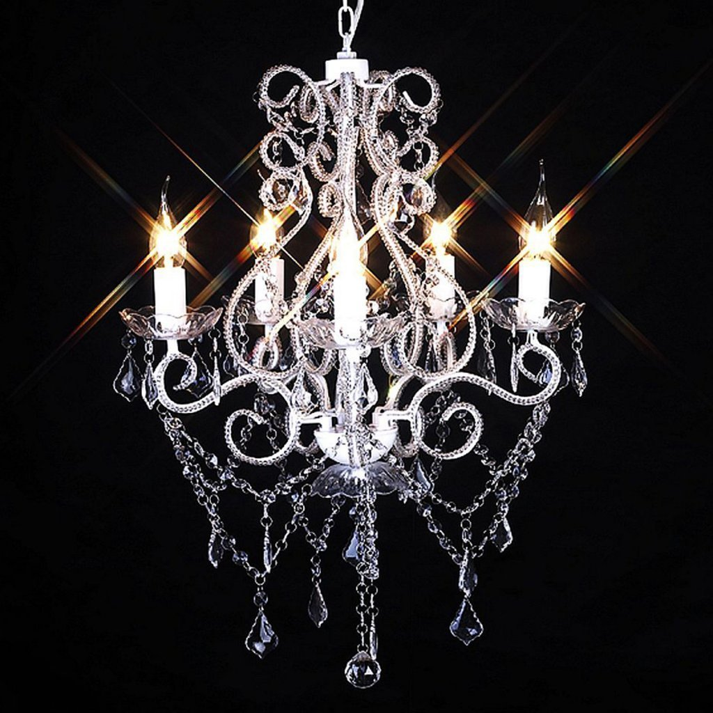 Anself Vintage Crystal Candle Chandeliers Lighting 5 Lights Pendant Ceiling Fixture Lamp D18