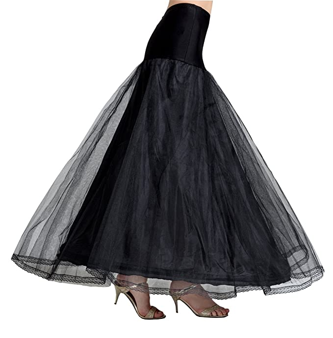 8a987b4c80d7 BEAUTELICATE A-line Full Gown Floor-Length Bridal Dress Gown Slip Petticoat  Black S