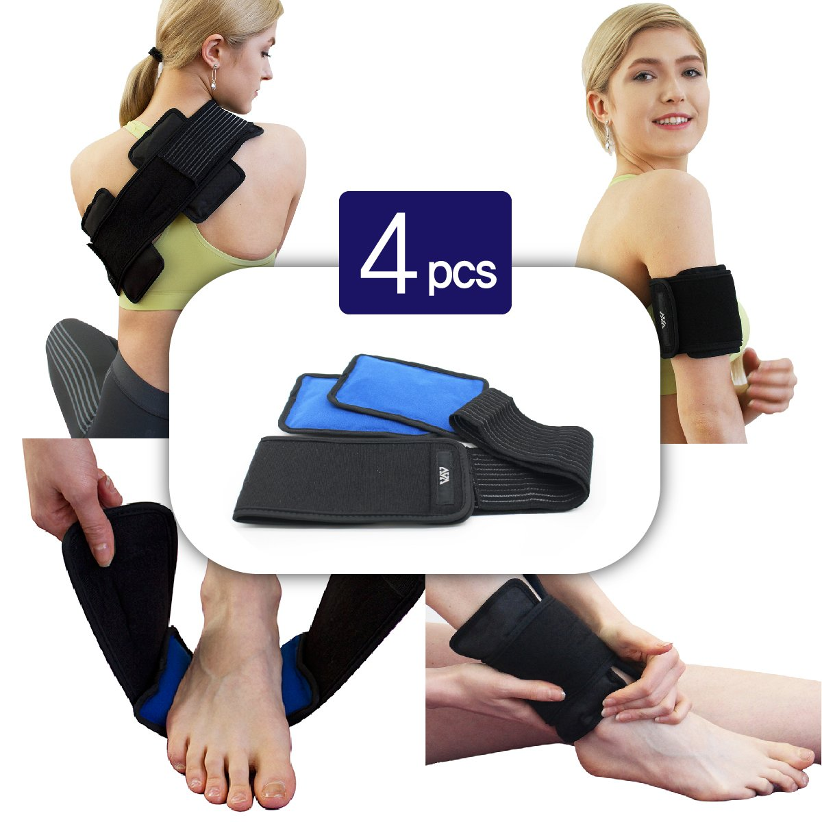 Alligne Reusable Hot&Cold Gel packs(4 PCS) with Adjustable Compress Wrap for Pain Relief(hand, foot, wrist, elbow, waist, shoulder, etc) Ideal for sports injuries, muscle pains, body aches and more!