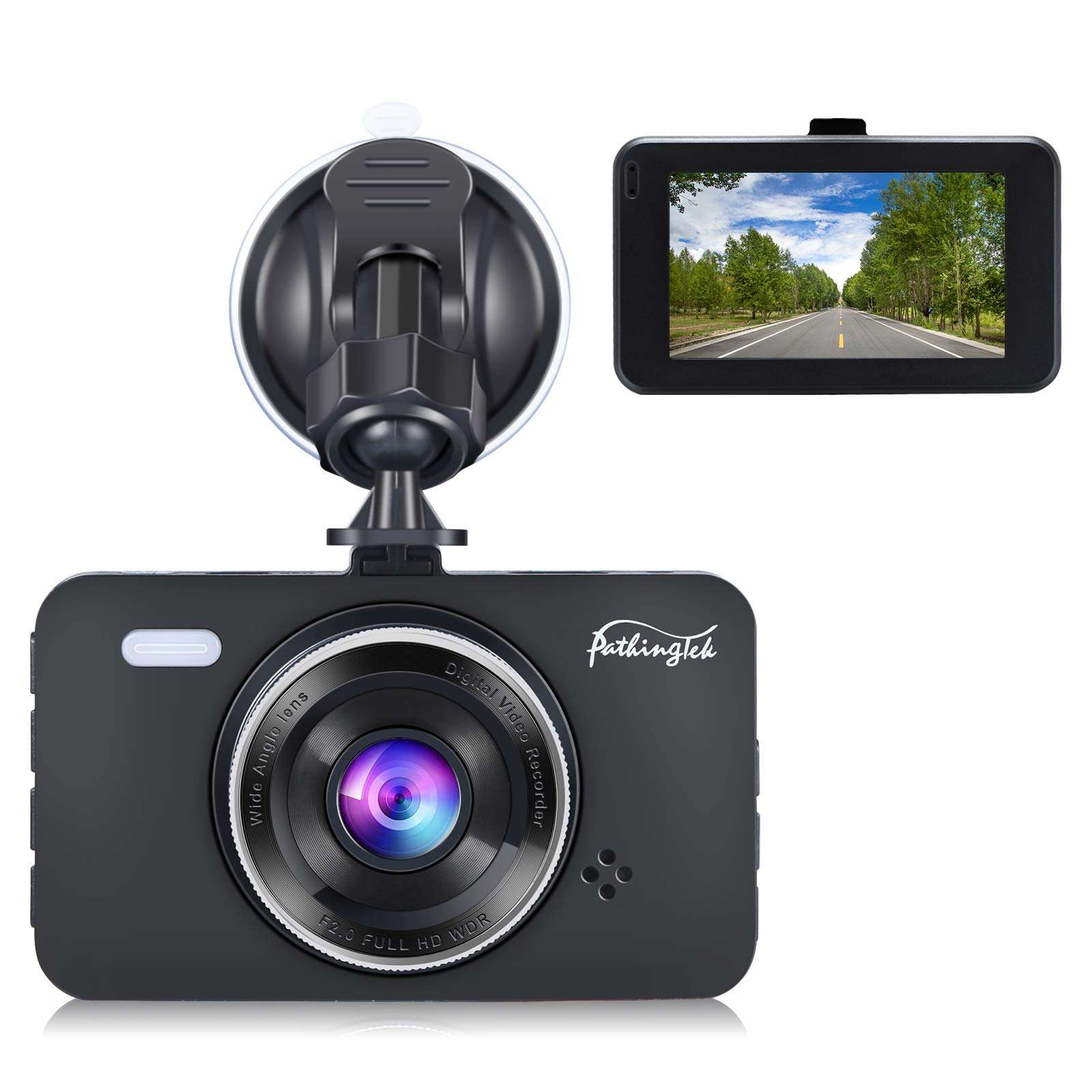 Dash Cam 1080P DVR Dashboard Camera Full HD 3'' LCD Screen 170°Wide Angle, WDR, G-Sensor, Loop Recording Motion Detection Excellent Video Images(Black)