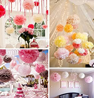 6pc Premium Quality Tissue Paper Paper Flowers Flower Ball Crafts Pom Poms for Holiday, Anniversary, Birthday, Graduation, Wedding, Bridal & Baby Parties, Outdoor & Indoor Party Decorations