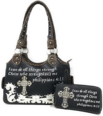 Concealed Carry Bible Verse Rhinestone Cross Flora Embroidered Women Handbag