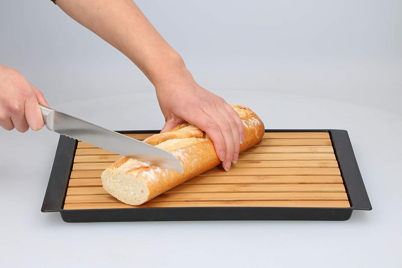 Planche /à d/écouper en bambou avec bac r/écup/érateur de miettes 38 x 27 x 2 cm