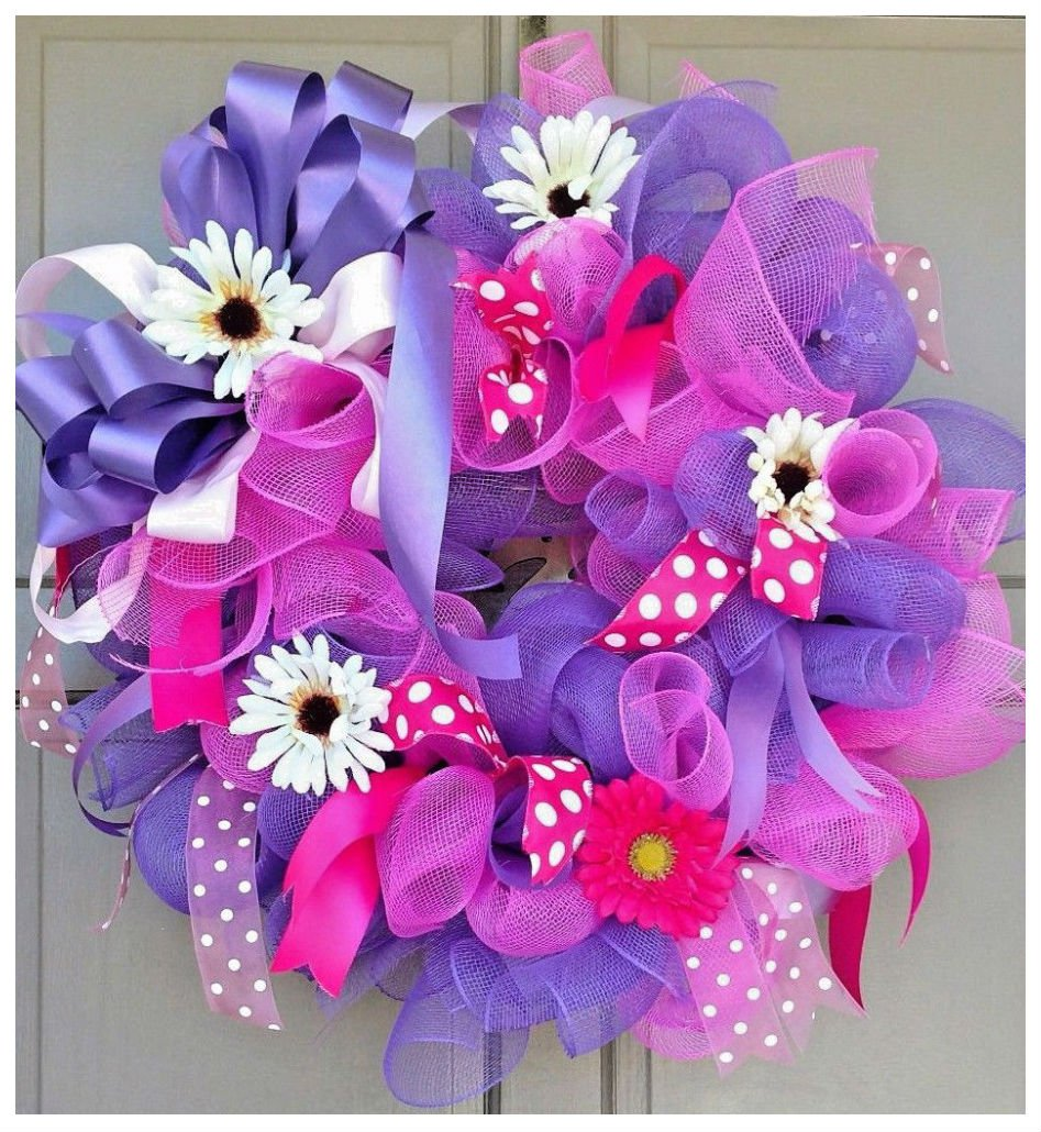 Spring Summer Floral Deco Mesh Everyday Wreath Pink & Purple Door Decor by Unbranded*