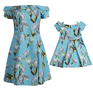 ddf0ceb81900 Canis Family Matching Mother and Daughter Off Shoulder Flower Printed Dress  Skirt (Adult S(