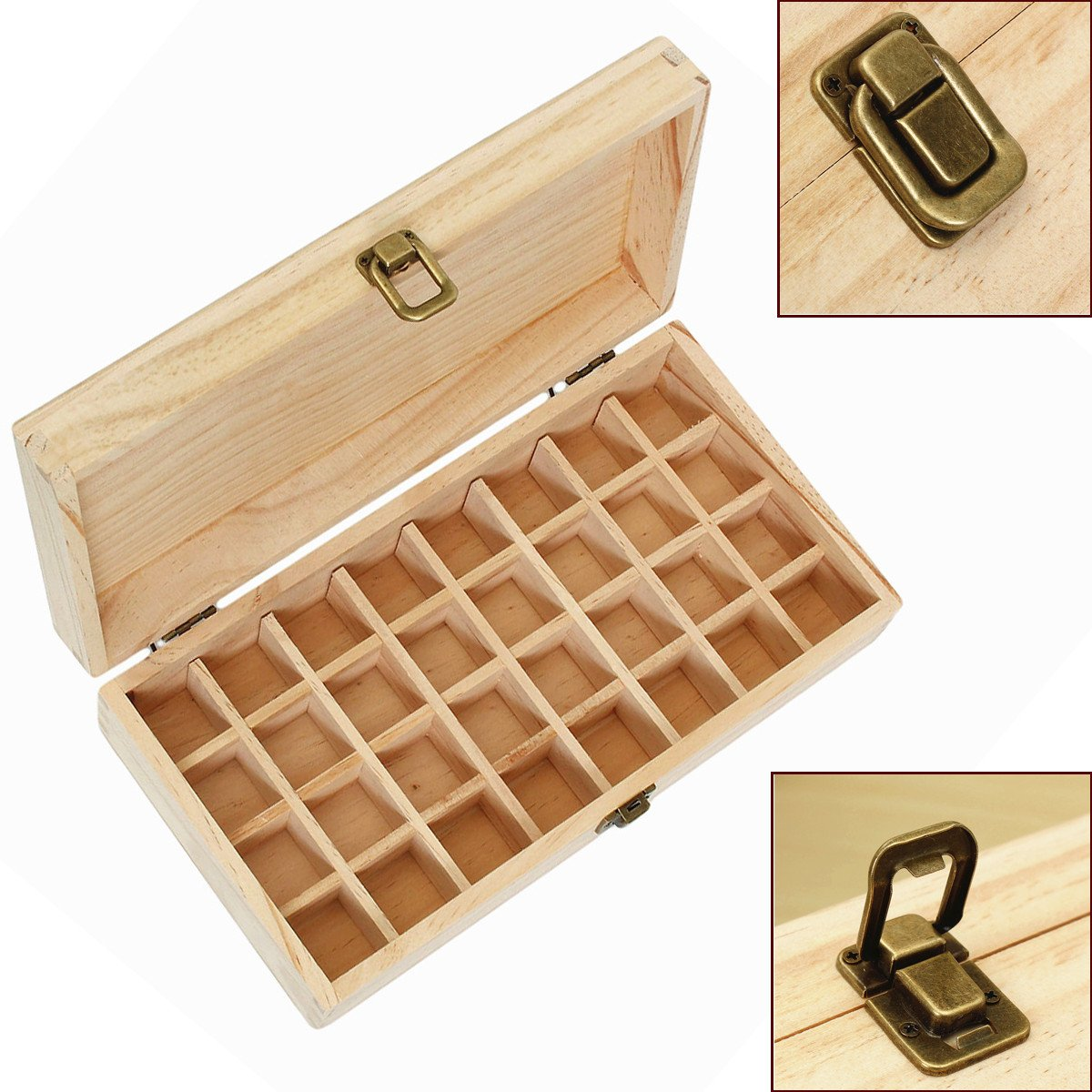Essential Oil Wooden Storage Box, 32/74 Compartments Container Holder Display Case of 5-15 ml Essential Oil Bottles Case For Travel & Presentations (74 Bottle) ZJchao