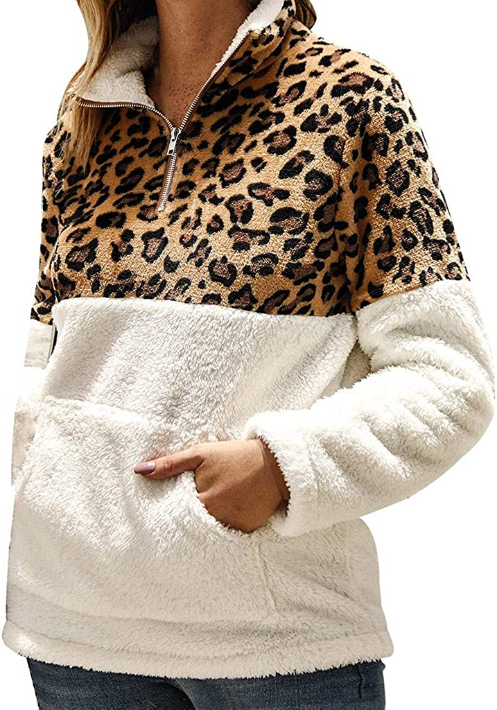 Womens Leopard Autumn Winter Faux Long Sleeves Casual Sweater Top Blouse