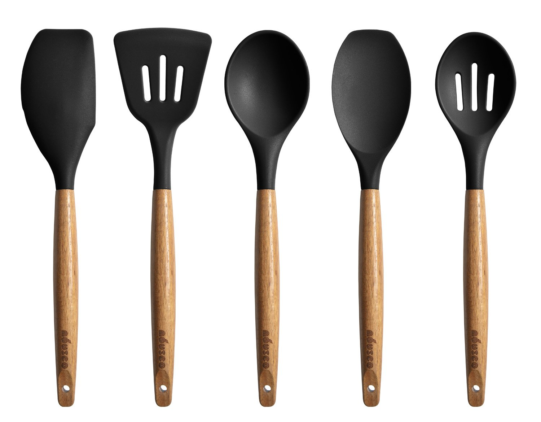 Miusco Kitchen Utensils Set Silicone Cooking Utensils with Natural Acacia Hard Wood Handle, Black