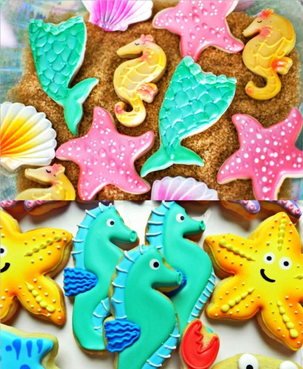 HONYAO Criaturas del Mar Cortadores de Galletas Sirena / Estrella de Mar / Caballito de Mar / Concha Cortadores de Galletas para Niños Cortadores de Pasta ...