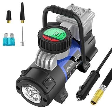 Mbrain Portable Air Compressor Pump - DC 12V Small Digital Car Tire Inflator with Gauge 120 PSI