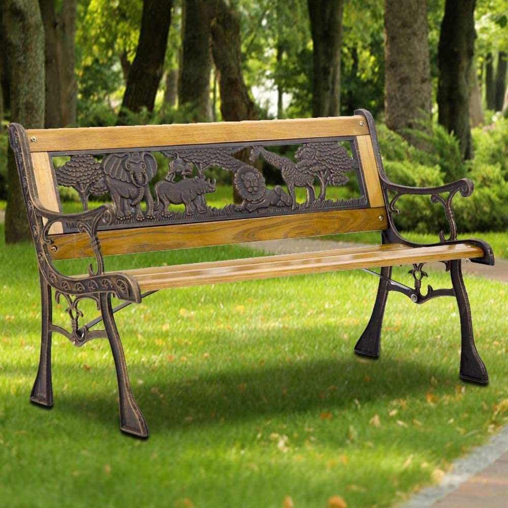 Patio Bench Garden Bench Outdoor Bench Metal Porch Chair Cast Iron Hardwood Furniture Animals, 480LBS Weight Capacity, for Park Yard Patio Deck Lawn
