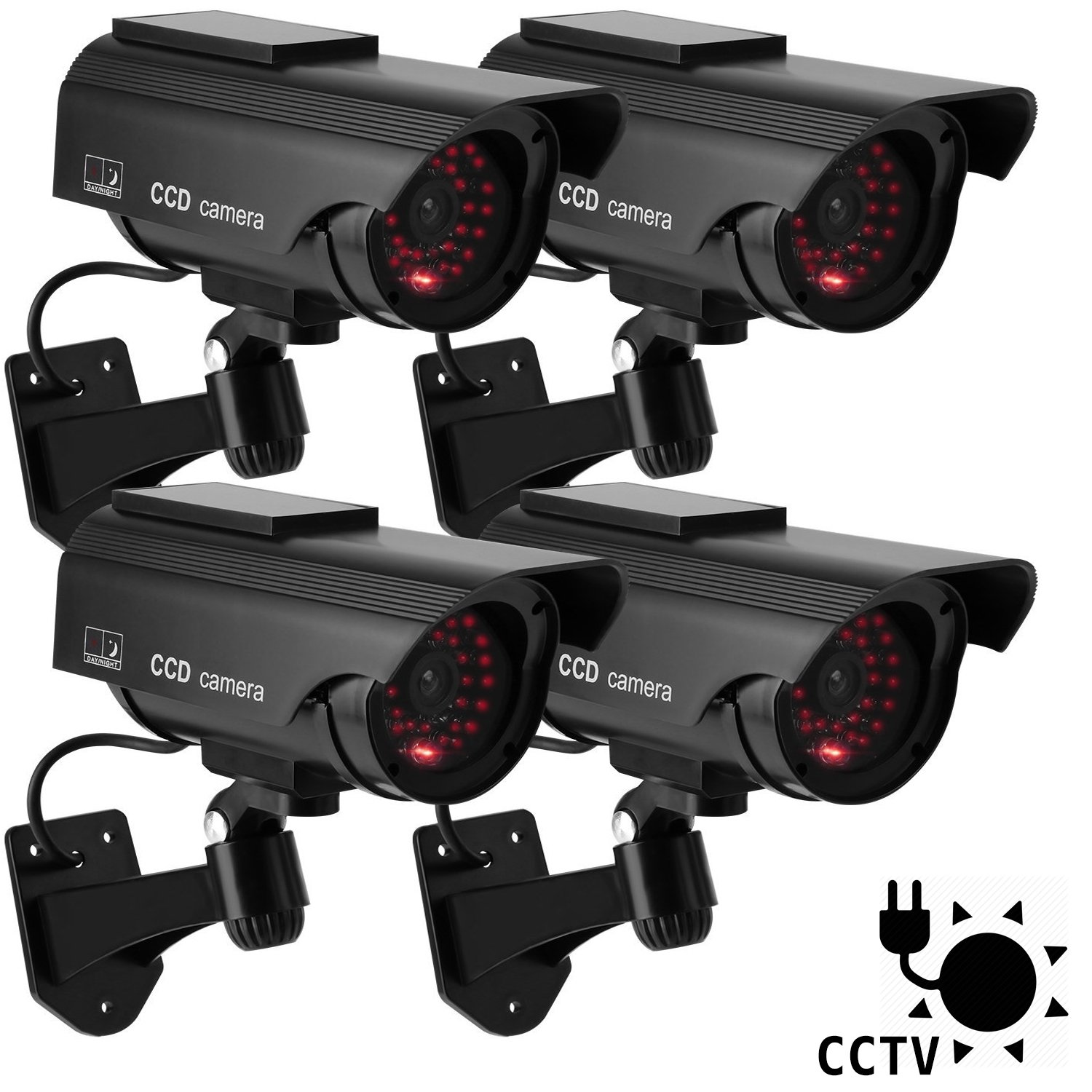 DIFEN Bullet Dummy Fake Security CCTV Solar Powered Camera Simulation Monitor with LED Blinking Light,Outdoor/Indoor Use for Homes & Business (4 Packs) by DIFEN