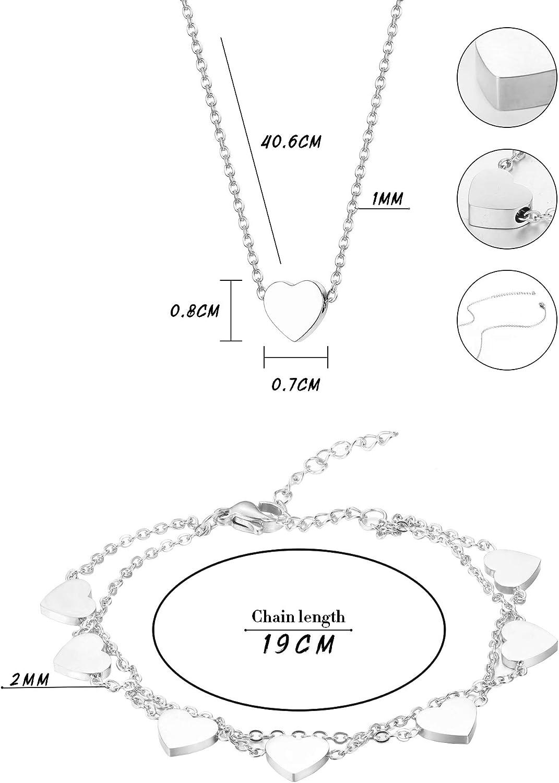 YADOCA Bijoux Bracciale Collana in Acciaio Inossidabile per Donna Braccialetto Doppia Catenina Delicata Catenina con Pendente a Forma di Cuore Stile Minimal