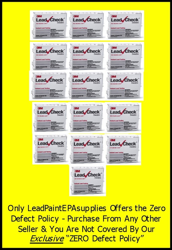 3M, 128 Swab 3M LEADCHECK Lead Tests with verification cards (16-8 packs) - Every swab is checked prior to being shipped for defects - 100% ready to use. LC-128S10C