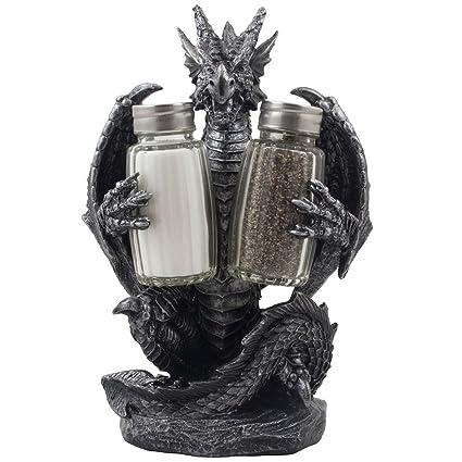 Mythical Dragon Salt And Pepper Shaker Set With Holder Figurine For  Medieval U0026 Fantasy Bar Or