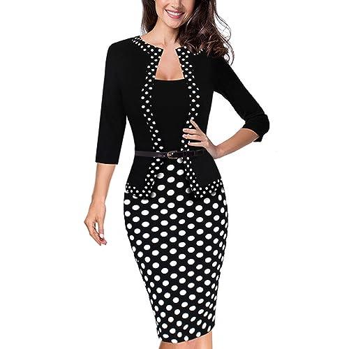 HOMEYEE Womens Vintage Retro 3/4 Sleeve Pencil Dress Wear to Work B407
