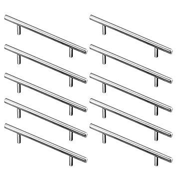 10 Piezas Manijas en Forma de T, Acero inoxidable T Bar Cocina Gabinete Puertas Manija Armario Armario muebles de hardware Cajón Tirador (Longitud ...