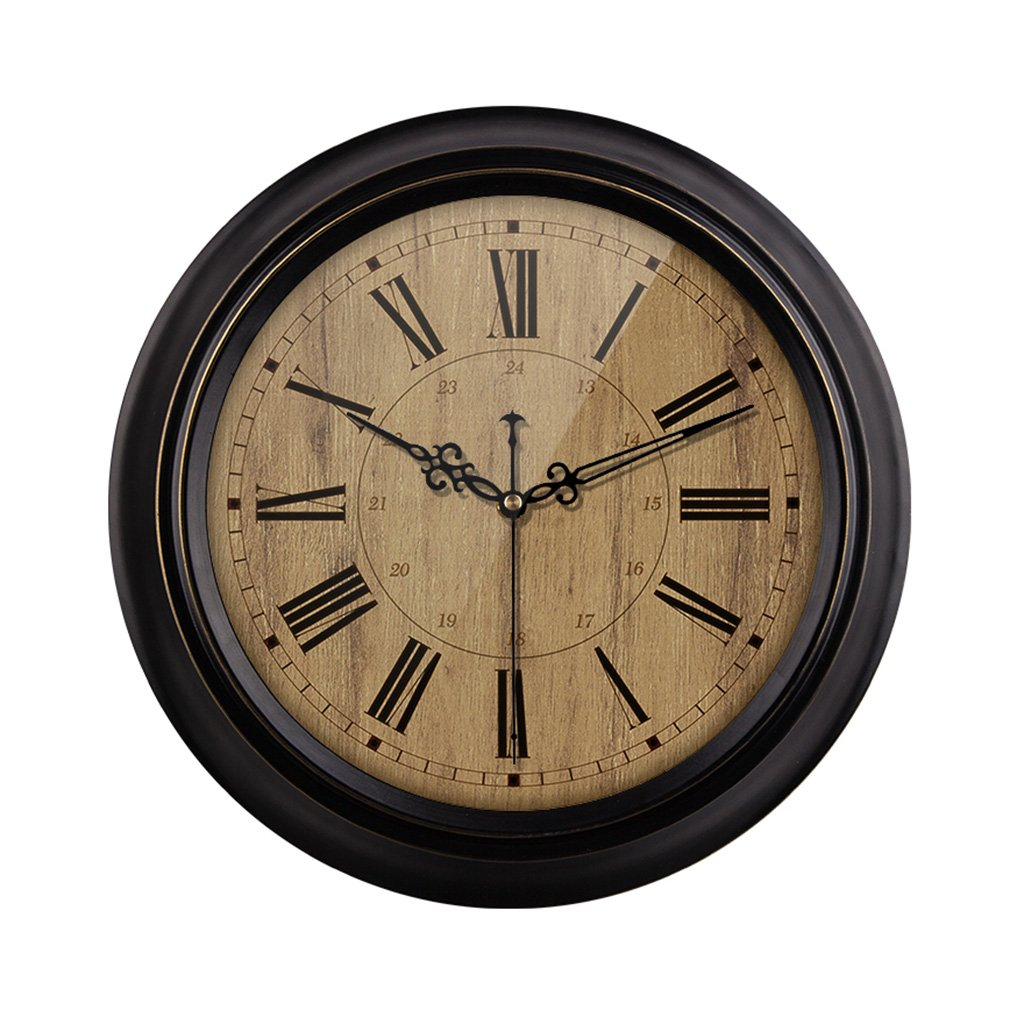 HAOFAY Mute Wall Clock, Vintage Pattern Roman Numeral Round Clock (vintage) ( Size : 16 inches/40 cm )