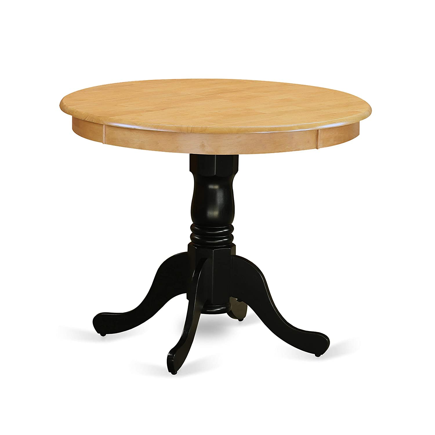 "East West Furniture ANT-OBK-TP Antique Table 36"" Round in Oak and Black Finish"