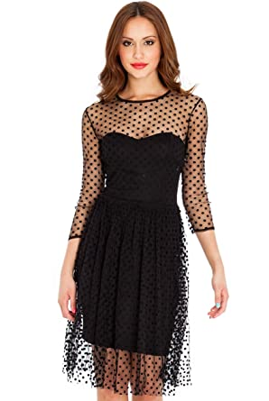 A La Mode Attire - Little Sexy Spotty Prom Dress (8, Black)