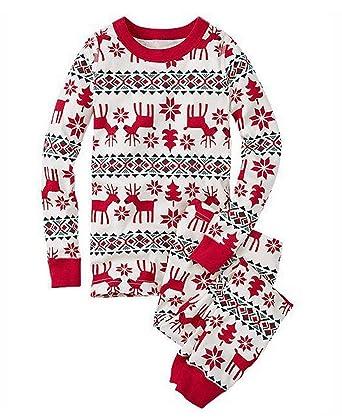 8203b2afc253e Famille Ensemble de Noël Vêtements de Nuit Renne Imprimé Pyjamas de Noel  Famille Garçon Fille du