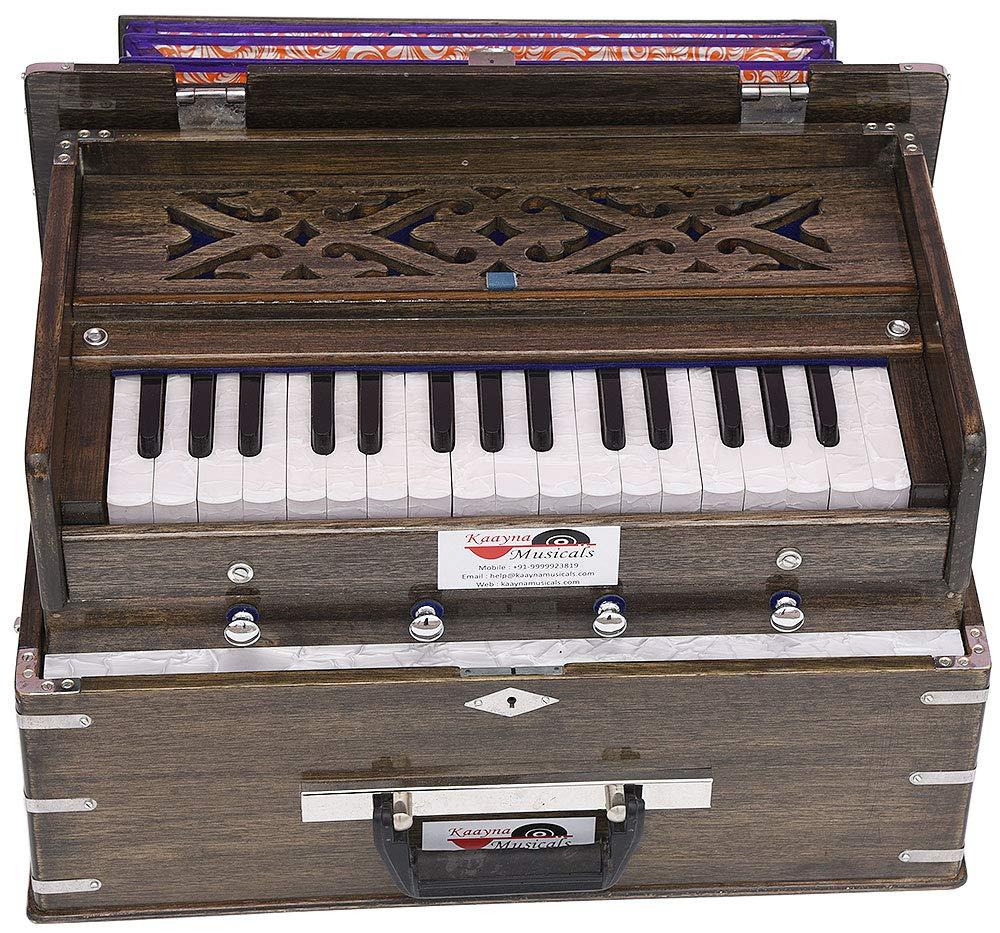 Safri Harmonium- 2¾ Octave By Kaayna Musicals-Portable, Traveler, Baja, 4 Stops (2 Drone), Two Set Reed- Bass/Male, Dark Color, Gig Bag, Tuning: 440 Hz, Suitable for Yoga, Bhajan, Kirtan, Mantra, etc by Kaayna Musicals