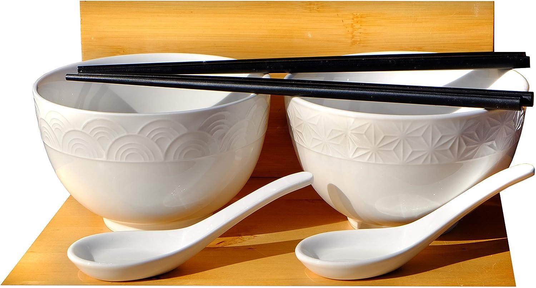 GOTO Wave & Star - Juego de cuencos y cucharas con textura de arroz y sopa, 2 – 13,2 cm: Amazon.es: Hogar