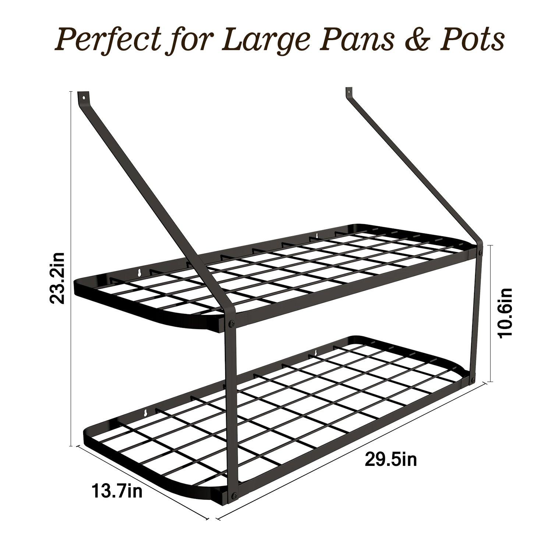 VDOMUS Shelf Pot Rack Wall Mounted Pan Hanging Racks 2 Tire (Black) by VDOMUS (Image #3)