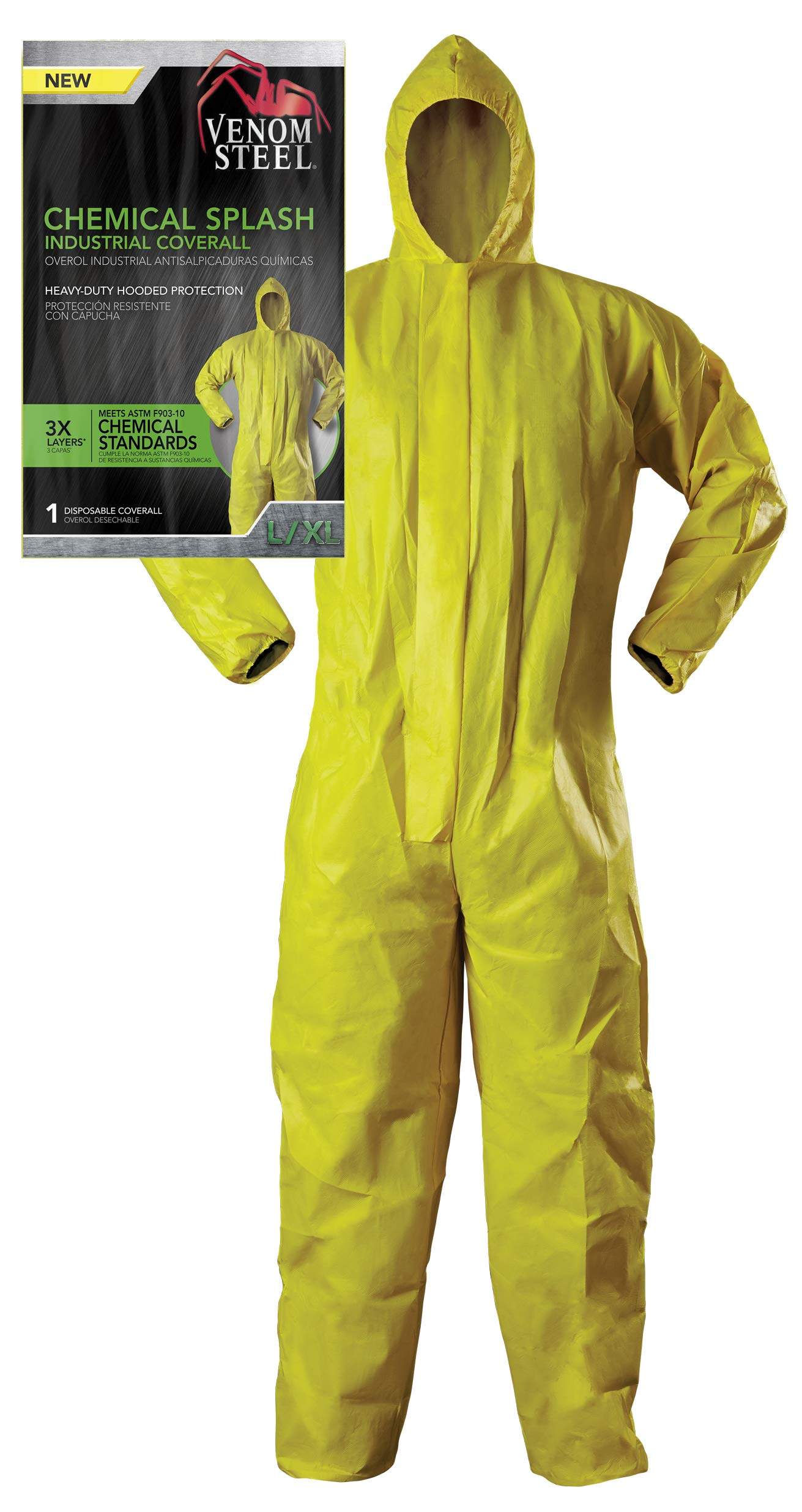 Venom Steel Disposable Chemical Splash Industrial Coverall, Hooded, Elastic Wrist and Waist, Yellow, L/XL