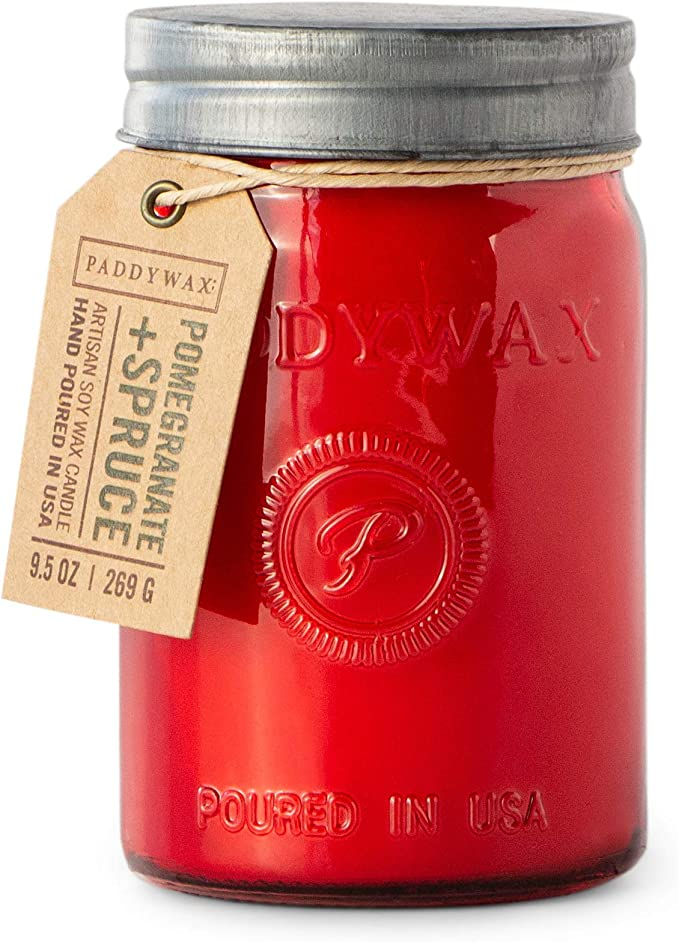 Paddywax Candles Relish Jar Collection Candle, 9.5-Ounce, Red Pomegranate and Spruce