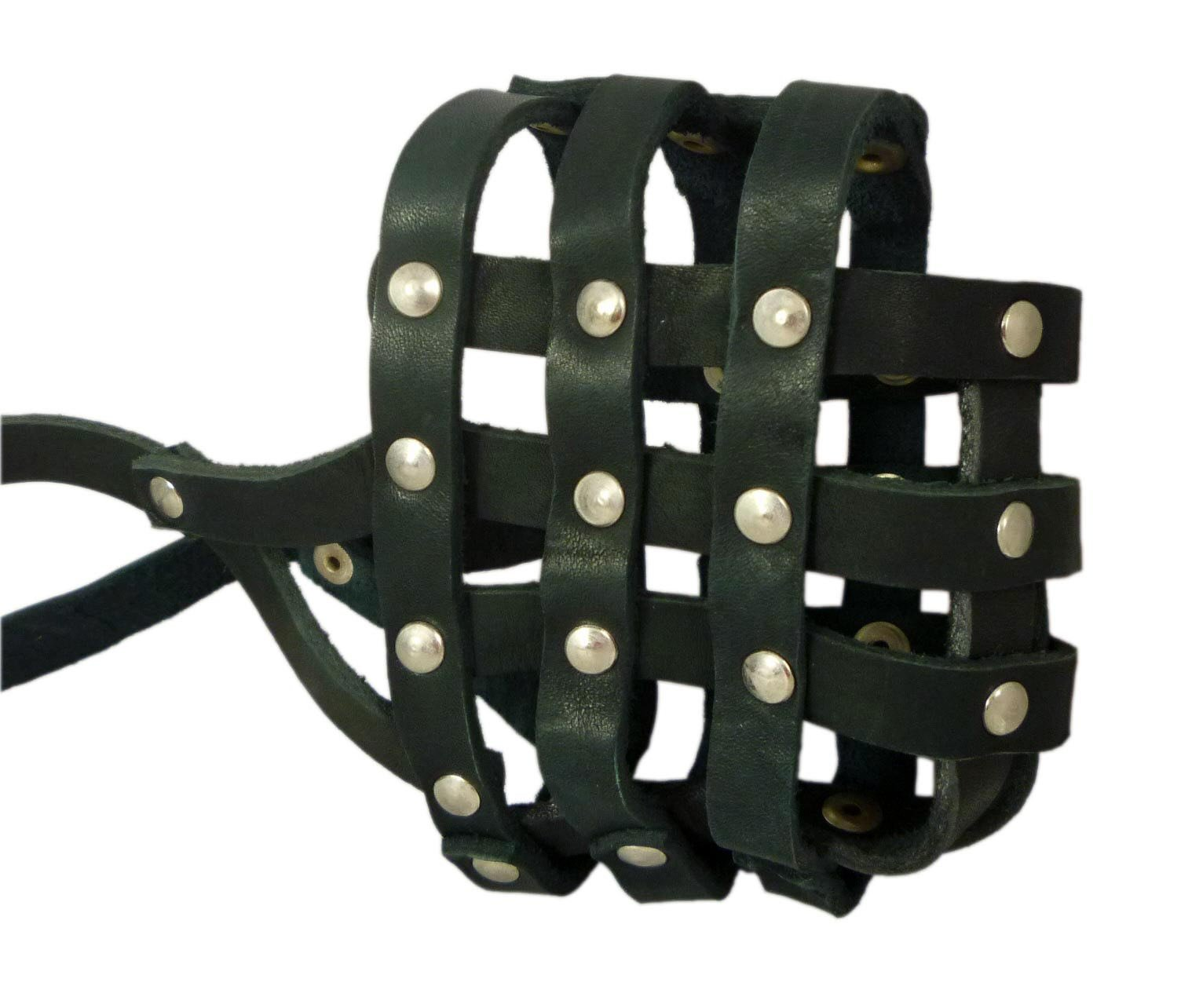 Real Leather Dog Basket Muzzle #107 Black - Pit Bull, AmStaff (Circumference 12'', Snout Length 3.5'')