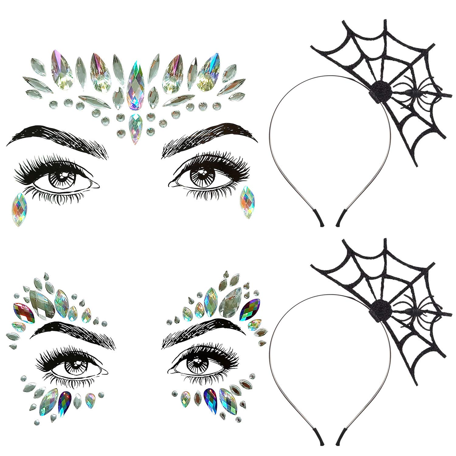Aniwon 2PCS Halloween Spider Web Headband+2 PCS Rhinestone Face Jewels, Spider Headband Halloween Party Headband Hair Hoop with Mermaid Face Gems Glitter for Women Halloween Cosplay Party Costume