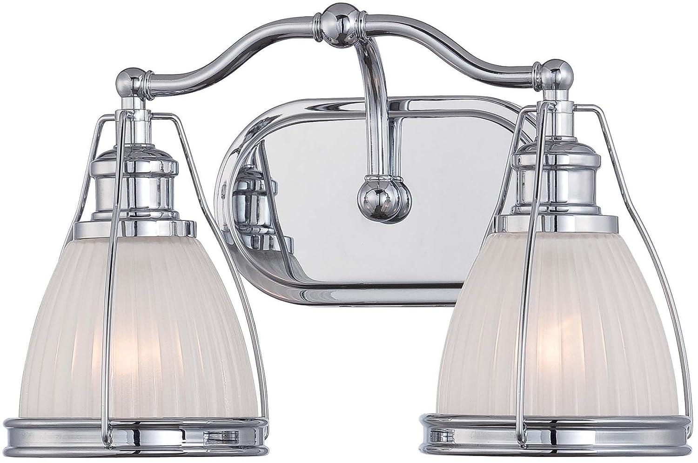 ミンカラヴェリー5792 – 77、Transitional Bath Vanityガラス壁照明、2ライト、クロム B00GXMX9YS