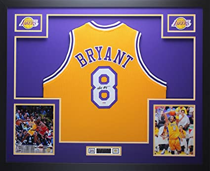 4a9e3859726 Kobe Bryant Autographed Gold Lakers Jersey - Beautifully Matted and Framed  - Hand Signed By Kobe